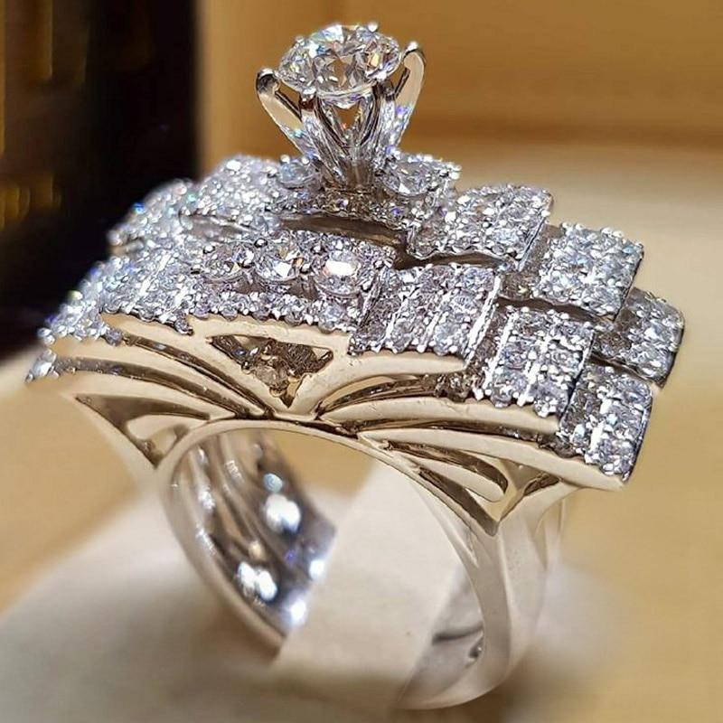 2 шт. свадебный набор элегантные кольца для женщин серебряного цвета Свадебные обручальные модные украшения с полностью блестящим Cubiz женское кольцо с цирконом - Цвет основного камня: C