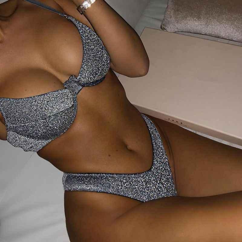 3c3933f8c15 Silver Metallic Reflective Solid Bikini Set Women 2019 High Leg Swimwear  Brazilian Bandage Push Up Swimsuit