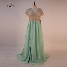 Crystal Prom Dresses 2017 SoDigne A-line Mint Green Girls Dress To Party Sexy V-neck Plus Size Keyhole Backless Actual Images