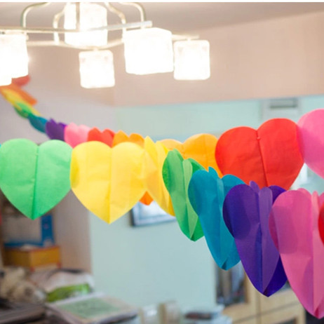 5pcs Rainbow Heart Garlands Party Decorations Hanging Wall Ceiling Background Home Indoor Celebrate Paper Supplies For