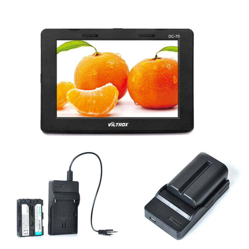 Viltrox 7  DC-70 clip-on Color TFT LCD Monitor HDMI AV Input 1280*800 DSLR Camera + NP-FM500H battery + battery charger