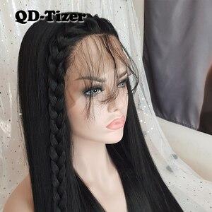 Image 3 - QD Tizer Lange Yaki Haar Schwarz Farbe Hitze Beständig Synthetische Spitze Front Perücken mit Baby Haar Licht Yaki Haar perücken für Frauen