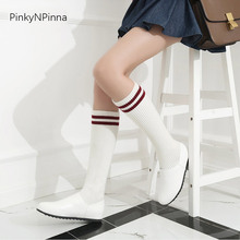 women autumn winter knee high white sock flat boots warm short plush adjustable fabric booties for ladies lolita preppy style