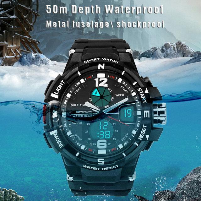 Venda quente 1 PCS Led Relógio Digital de 50 M À Prova D' Água relógio de Pulso Militar Esportes Homens Relógios Choque Homens Relógio De Quartzo Gota grátis