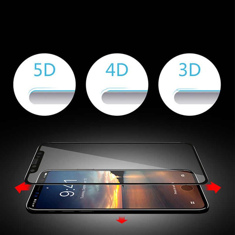 5D szkło ochronne dla iphone X XR XS Max pełna osłona ekranu dla iphone 7 8 6 6 S Plus zakrzywione szkło ochronne Film