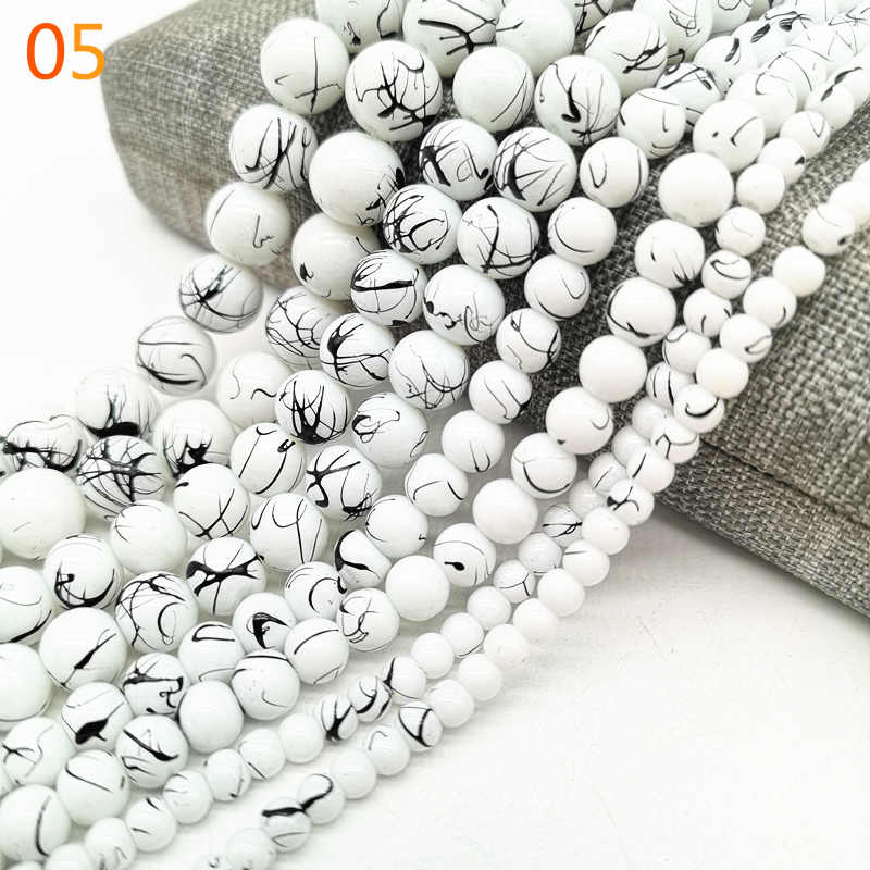 Wholesale 4/6/8/10mm Salad Glass Beads Loose Spacer Painted Pearl Charm For Jewellery Making Diy Bracelet &Necklace #05