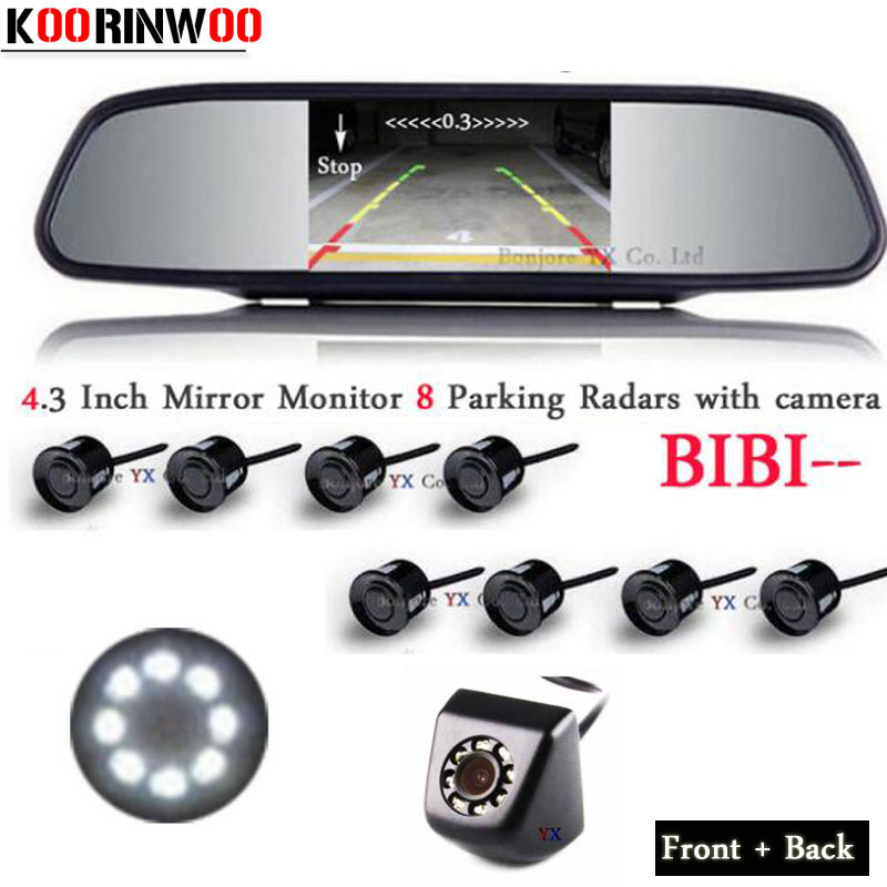 цена на Koorinwoo Car Parking Sensors 8 Radars Alarm Parktronic Monitor Mirror Front Camera Car Rear view Camera 8 lights Auto Detector