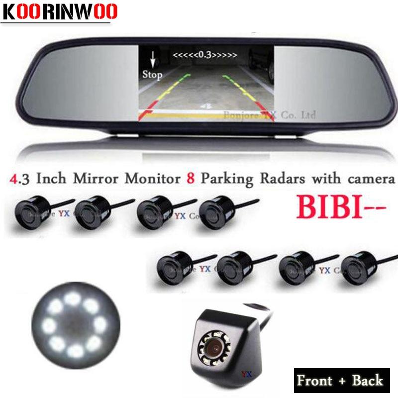 цена на Koorinwoo Car Parking Sensors 8 Radars Alarm Parktronic Monitor Mirror Front Camera Car Rear view Camera 8 lights Auto Detector