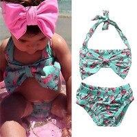 2PCS Kids Baby Girls Bikini Suit Red-crowned Swimsuit Swimwear Beachwear Clothes