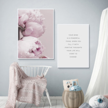 Blush Peony Print Inspirational Quote Canvas Art Painting Floral Posters Prints on Minimalist Wall Decoration