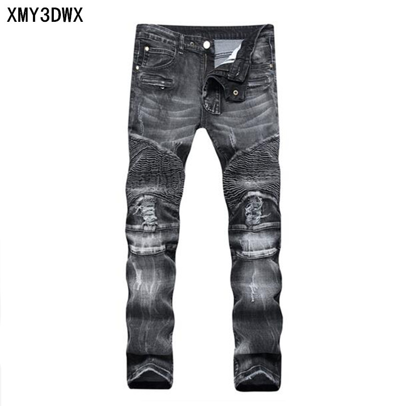 2017 hip-hop Men Jeans masculinaCasual Denim distressed Men's Slim Jeans pants Brand Biker jeans skinny rock ripped jeans homme 2017 men s slim jeans pants hip hop men jeans masculina black denim distressed brand biker skinny rock ripped jeans homme 29 40