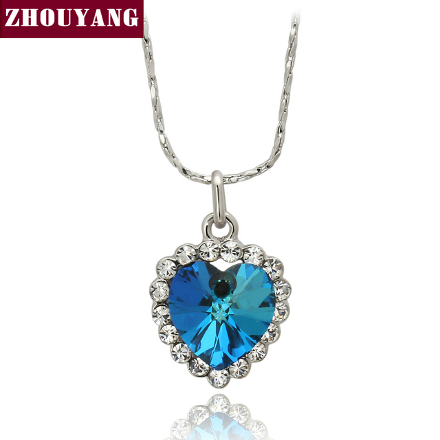 Top Quality ZYN109  Heart of Ocean Necklace  White Gold Plated Fashion Pendant Jewelry Made with Austrian Crystal  Wholesale