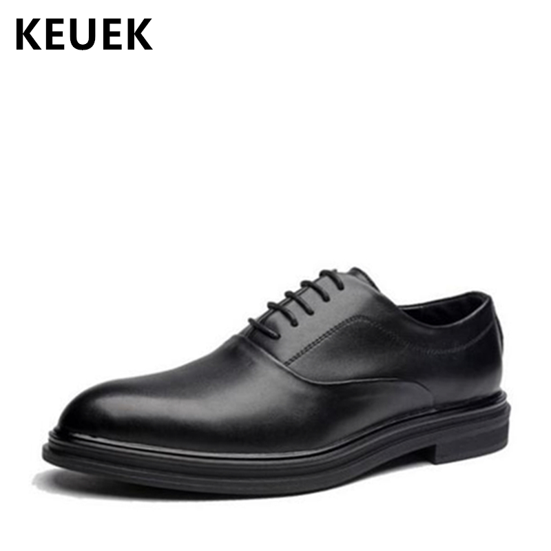 British style Men Brogue Shoe Casual leather shoes Pointed Toe Derby Shoes Lace-Up Comfortable Business Dress shoes Oxfords 02A стоимость