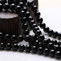 Wholesale DIY Beads Jewelry Fit For Necklace Bracelets Genuine Natural 6mm Black Tourmaline Quartz Loose Round Crystal Beads