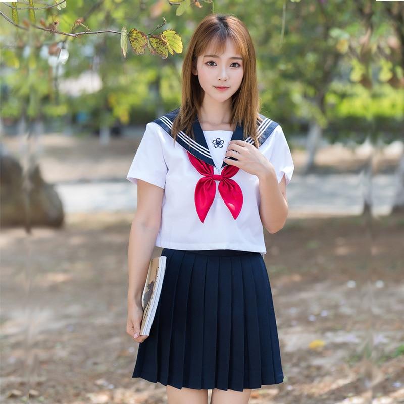 UPHYD Japanese High School Uniform Girls Sakura Embroideried Class Uniforms Women Novelty JK Sets Short Sleeve Sailor Suits