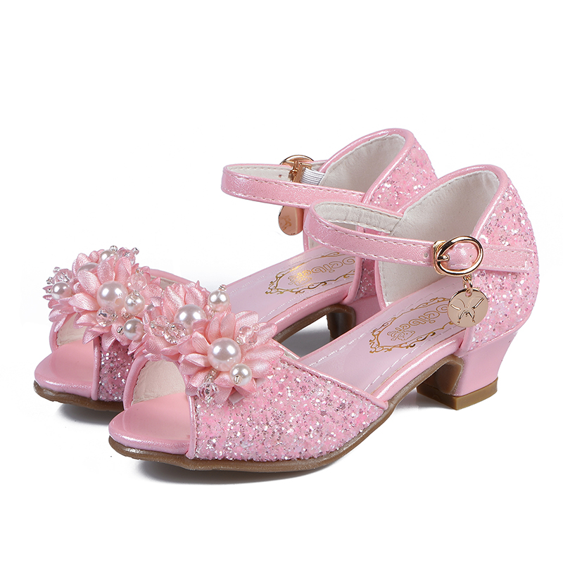 SKHEK Princess Kids Leather Shoes For Girls Beading Glitter Children High Heel Girls Shoes Butterfly Knot Blue Pink White 28-38