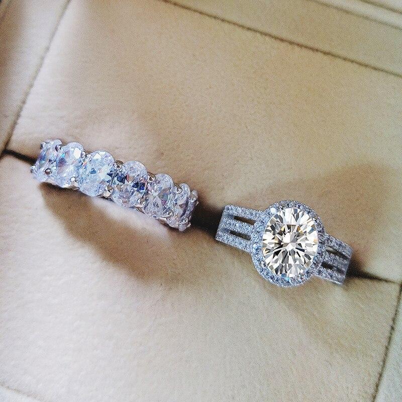 Moonso Real 925 bague de mariage ovale en argent Sterling pour femmes ensemble de fiançailles de luxe bande éternité bijoux zircone R5347S