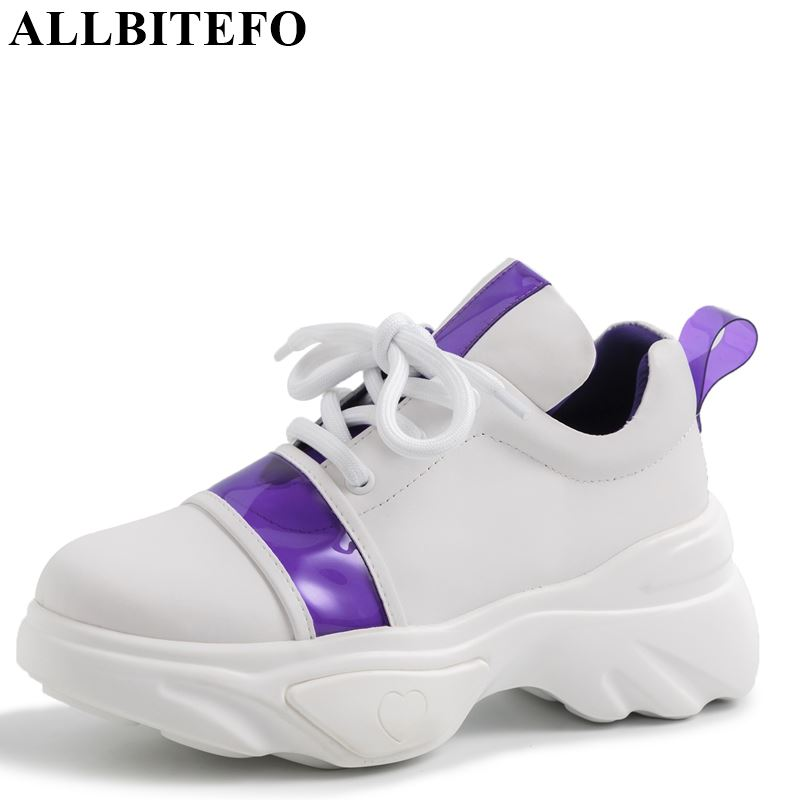 ALLBITEFO genuine leather fashion women flats sneakers shoes mixed colors spring flat heel shoes concise casual