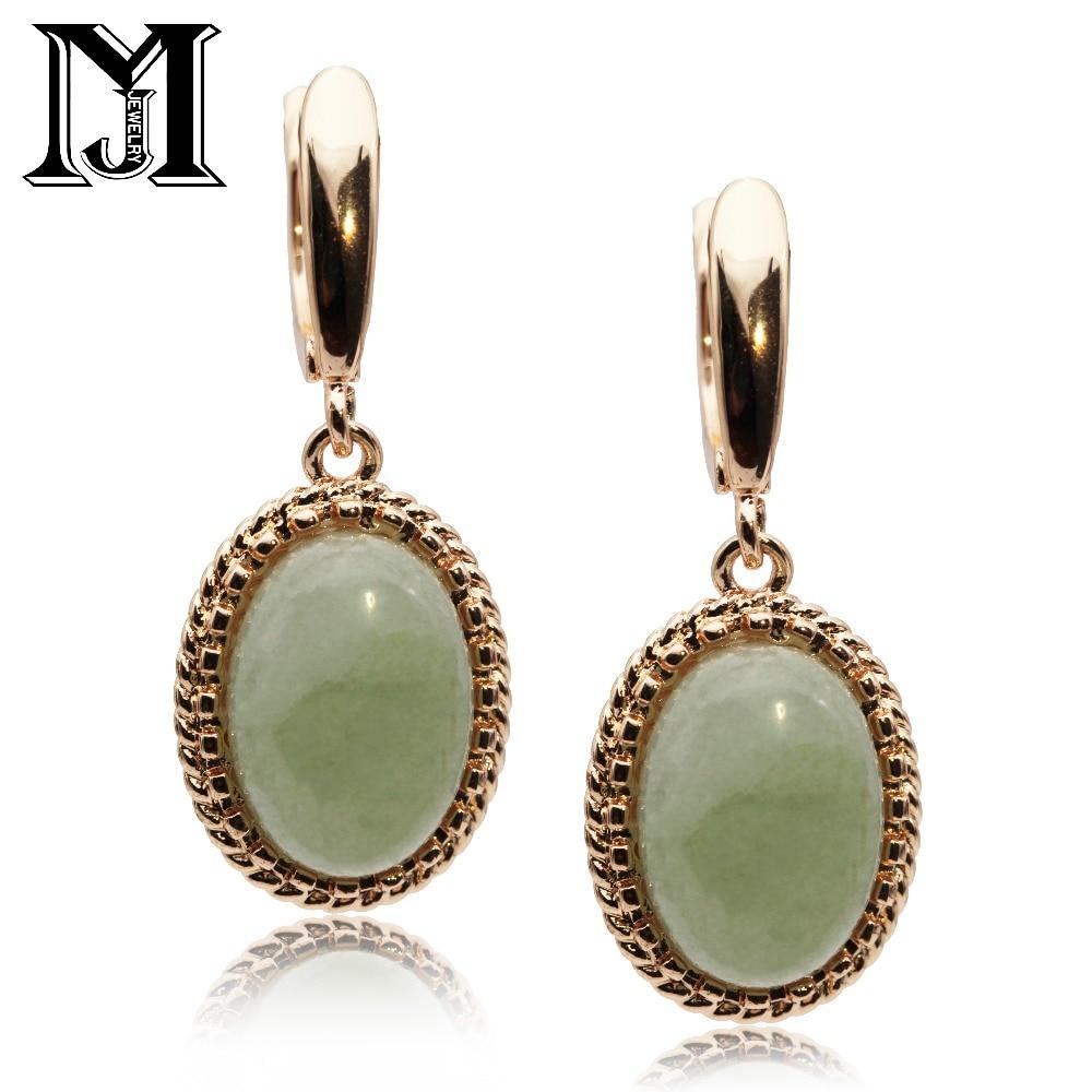 JiaMu nouveau chaud long vert clair multicolore ovale pierre naturelle boucles d'oreilles 585 rose or boucles d'oreilles femmes vintage fête de mariage