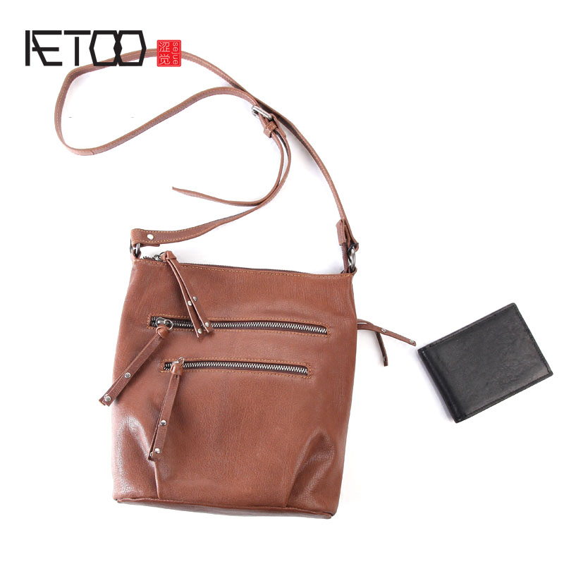 AETOO Pure leather original fashion retro shoulder slung neutral bag leather Japan and South Korea simple casual bag aetoo pure leather europe and the united states japan and south korea fashion retro bag leather leather casual daily travel back