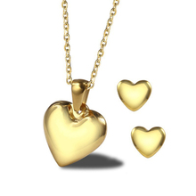 цена на Fashion Gold Heart Necklace and Earrings for Women Wedding Party Accessories Stainless Steel Flat Heart Charm Family Jewelry Set