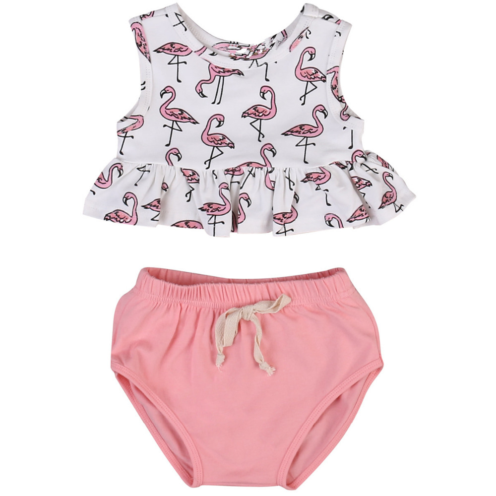 2017 Cute Newborn Baby Girl Clothes Cotton Sleeveless Ruffle Tank Tops+Bottom 2pcs Summer Baby Clothing Outfits Set 0-18M 0 24m floral baby girl clothes set 2017 summer sleeveless ruffles crop tops baby bloomers shorts 2pcs outfits children sunsuit