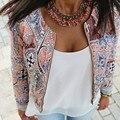 Женская мода Цветочный Печати Старинные Тонкий Пиджак Повседневная Лето Короткие Пальто Верхняя Одежда