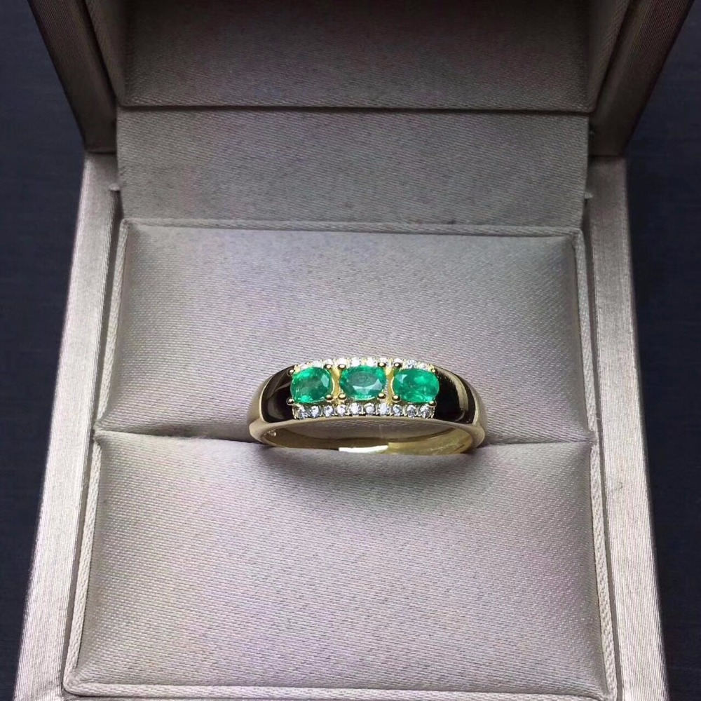 Gold Natural Emerald Ring Genuine Gemstone for Women Birthday Fine Jewelry ...