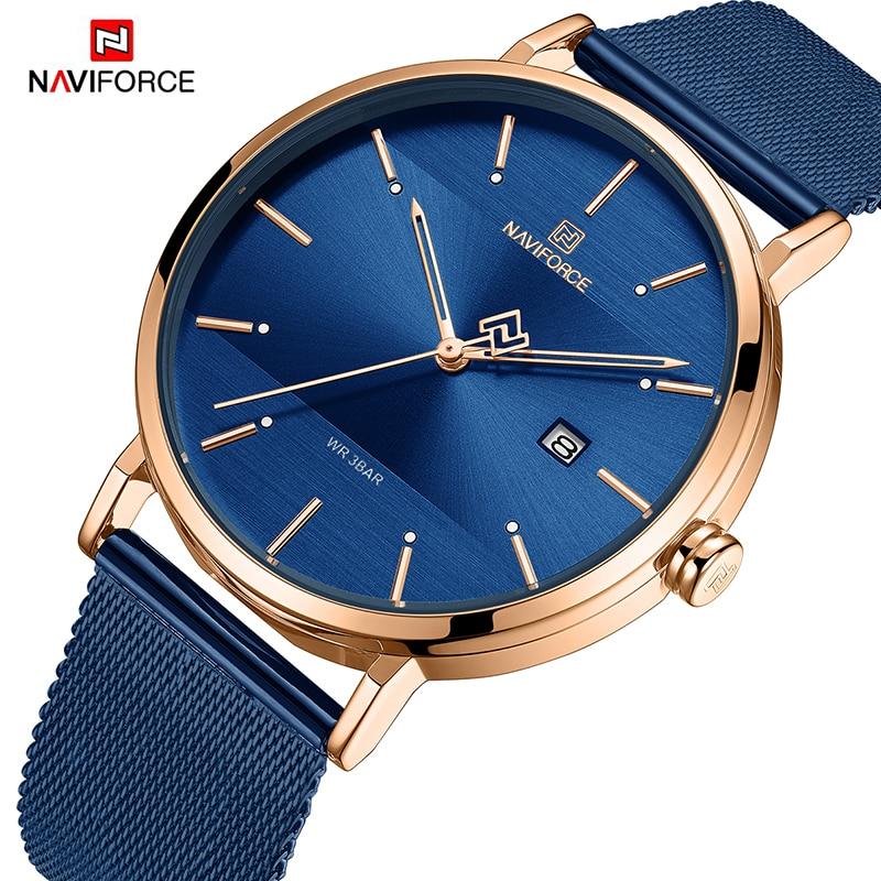 NAVIFORCE New Stylish Women Watches Top Brand Luxury Stainless Steel Strap Quartz Wristwatch For Woman Bracelet Watch 2019 Gift