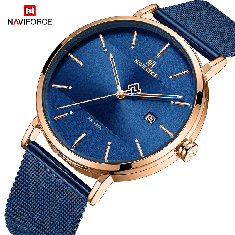 NAVIFORCE New Stylish Women Watches Top Brand Luxury Stainless Steel Strap Quartz Wristwatch For Woman Bracelet Watch 2019 Gift