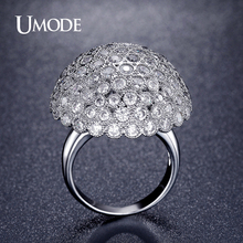 UMODE Charm Large Ball Pave Luxury Rings For Women Fashion Jewelry Unique Rhodium plated Cocktail Ring Accessories AUR0338