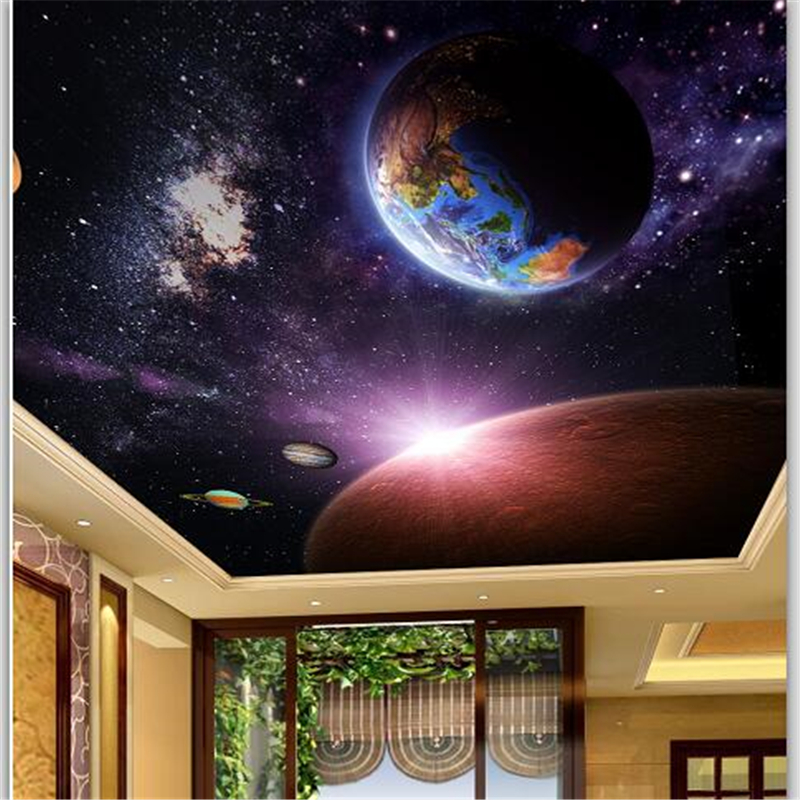 Beibehang Customized Large Wallpapers 3d Aesthetic Blue Sky Planet