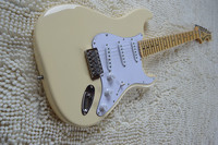 Vintage Yellow Cream Yngwie Malmsteen Scalloped Maple Fretboard Big Head ST 6 String Electric Guitar Guitarra