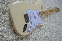 Vintage Yellow Cream Yngwie Malmsteen Scalloped Maple Fretboard Big Head ST 6 String Electric Guitar Guitarra