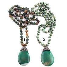 Modo Libero di trasporto Lungo Annodato Pietre Bohemian Tribale Dei Monili di Verde Naturale Collana di Pietra Del Pendente