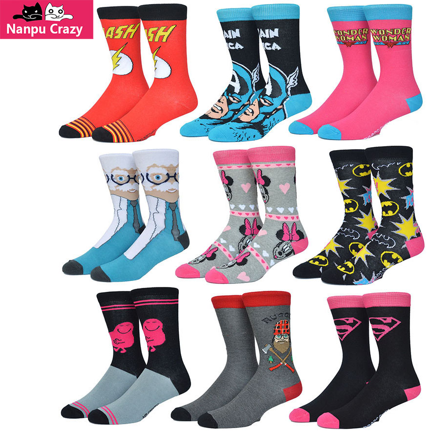 Superman Batman American Captain Skateboard Socks Men Colorful Cotton Funny Socks Wonder Women Cartoon Basketball Sock