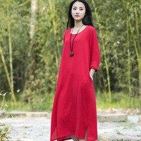 O-cổ Dài tay áo Vải Lanh Bông Phụ Nữ Dài Ăn Mặc Mùa Hè Quan Hệ Nhân Quả ngắn Váy Rắn Đỏ Trắng Quân xanh Nhãn Hiệu Váy Kawaii Váy B112