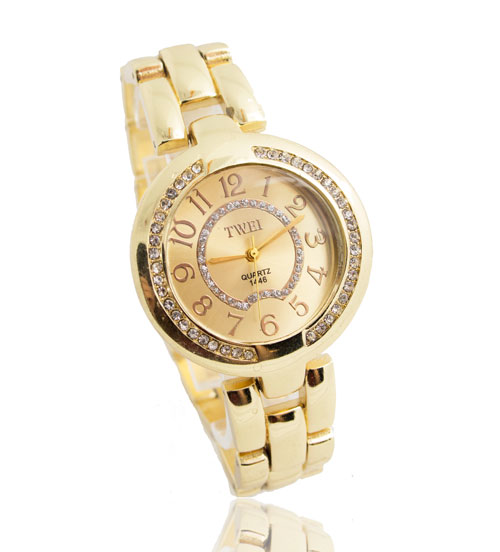 High Quality Gold Plated Watch Women Ladies Fashion Bling Crystal Dress Quartz Wristwatch Relogio Feminino TW054 high quality rose gold silicone watch women ladies men fashion dress quartz wristwatch relogio feminino gv008