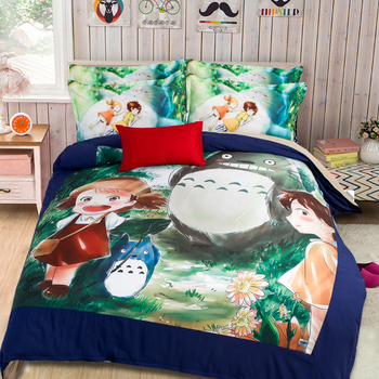 3D Japanese anime Totoro cartoon girl kid bedding set 3/4Pcs Full/Queen/Twin King size bed quilt linen set children's home decor