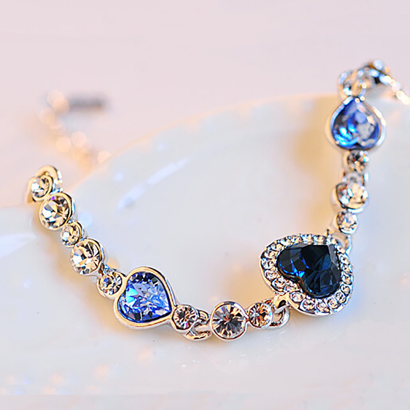 2019 Fashion Ocean Heart Bangle Bracelet Blue Crystal Rhinestone Bracelets For Women Wedding Jewelry Gifts FSPSL205