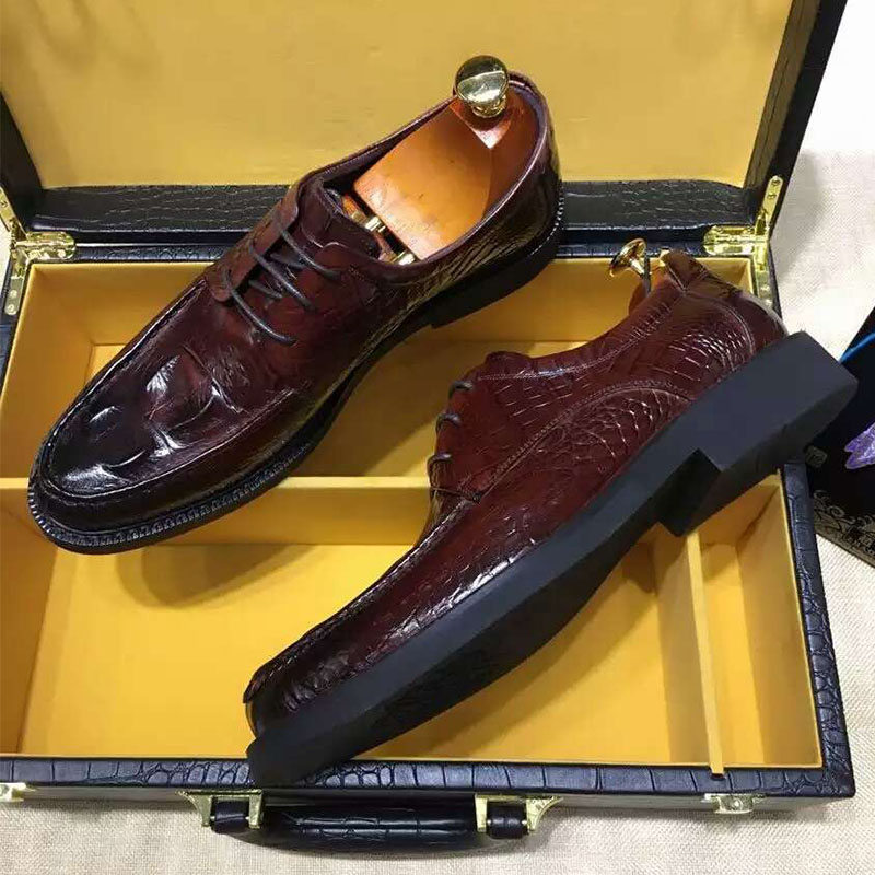 Italian Style Thick heel Goodyear Oxfords Crocodile Leather Formal Breathable Handmade Mans ShoesItalian Style Thick heel Goodyear Oxfords Crocodile Leather Formal Breathable Handmade Mans Shoes