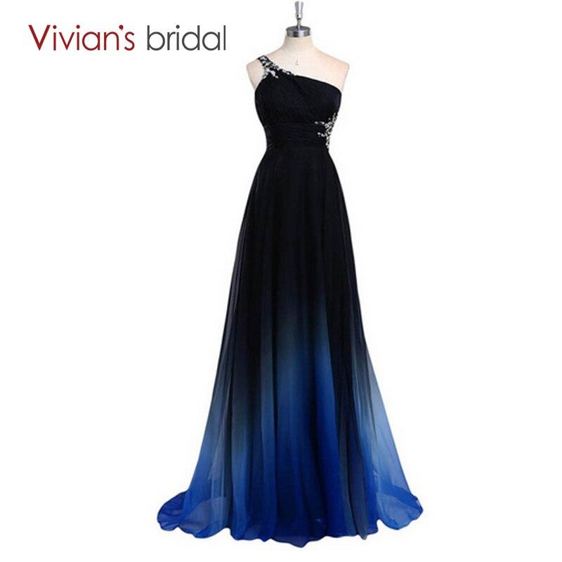 Vivian de mariée 2016 nouvelle Collection colorée une épaule longue robe de soirée rouge Sexy dos en mousseline de soie robe de soirée offre spéciale SH02