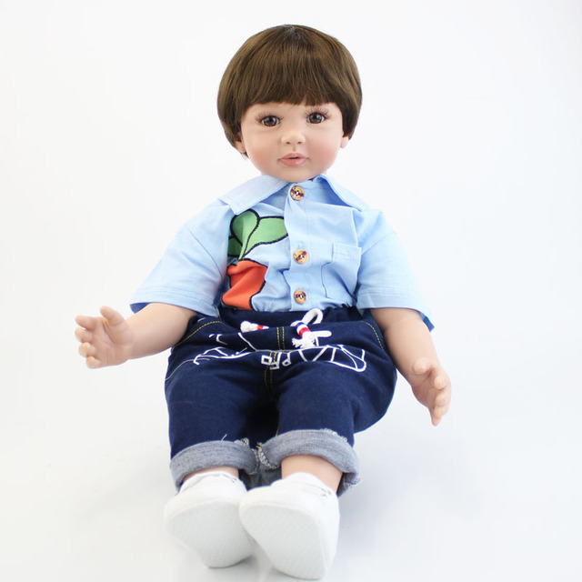60cm Silicone Vinyl Reborn Baby Doll Toys 24inch Toddler Babies Boy Doll Kid Birthday Gift Present Girls Play House Boneca
