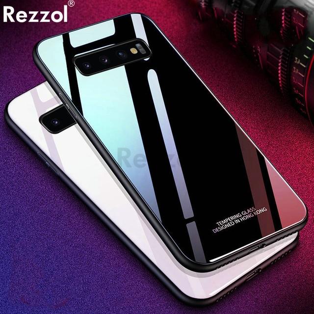 Rezzol For Samsung galaxy S10 5G Case Tempered Glass Back Cover For Samsung Galaxy S10 Plus Phone Case Fundas