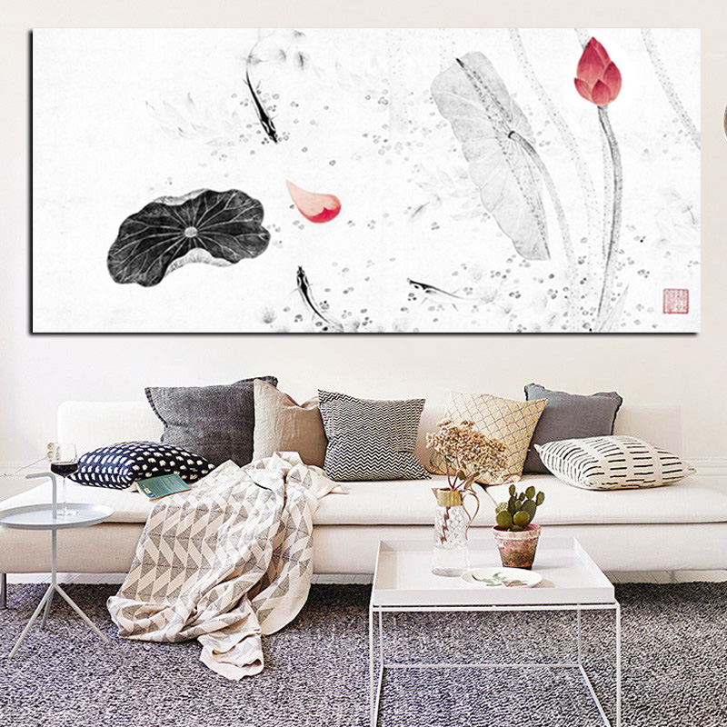 Hd print large traditional chinese calligraphy painting for Koi metal wall art