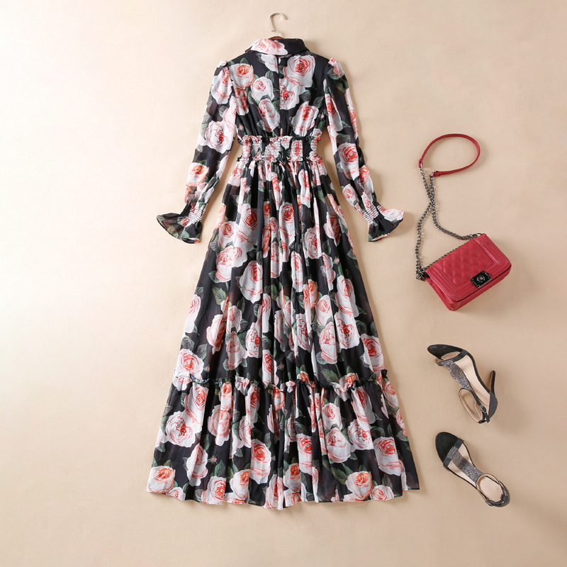 High quality 70 silk dress brand new design floral print Bohemian dress 2019 summer runways long sleeves maxi dress A219 in Dresses from Women 39 s Clothing