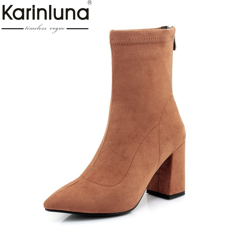 KARINLUNA 2017 Plus Size 32-42 Pointed Toe Flock Woman Shoes Sexy Zip Up Square High Heels Party Women Boots Winter Top Quality new 2017 spring summer women shoes pointed toe high quality brand fashion womens flats ladies plus size 41 sweet flock t179