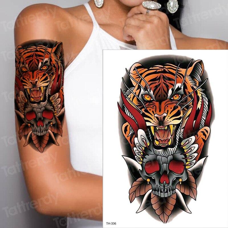 Tribal Skull Tattoo Sleeve: Temporary Tattoo Tiger Head Skull Tribal Feather Sleeve