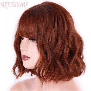 Image 1 - Merisi 머리 합성 머리 갈색 8 색 짧은 물 웨이브 가발 화이트/블랙 여성 내열성 섬유 매일 전체 거짓 머리