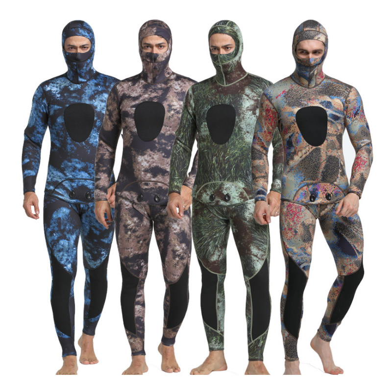 Two Pieces Men's Wetsuit 3mm Camouflage Neoprene Nylon Wet Suit with Hood Spearfishing Equipment Fishing Water Hunting Clothes mens camouflage 3mm neoprene wetsuit weight belt vest veste for spearfishing fishing clothes women